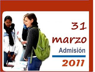 Resultados La Cantuta - UNE 2011 (31 marzo) Examen de Admisión