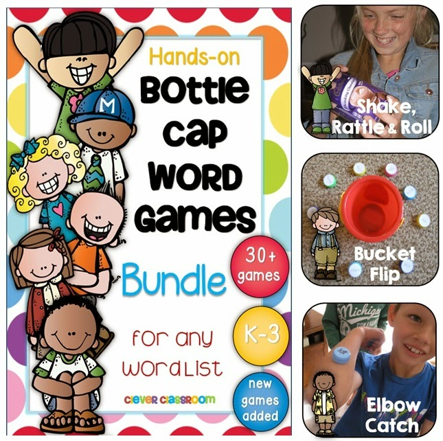 Bottle Cap Center Games for any Word List BUNDLE 30+ Games (33 games and growing)  Fun, hands-on, body, literacy center game for any word list, including sight words, HFW, vocabulary words, topic words, personal words or even sounds.