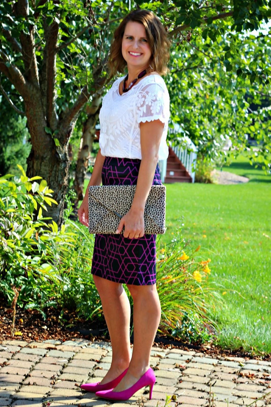 J Crew Factory Purple skirt, Express lace baroque blouse, pink pumps, purple agate slice necklace
