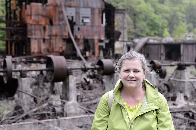 Peg in front of the former sawmill in Cass