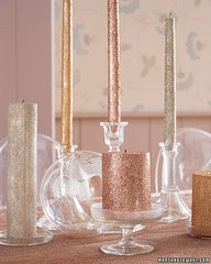 glass candleholders glitter candles Christmas table