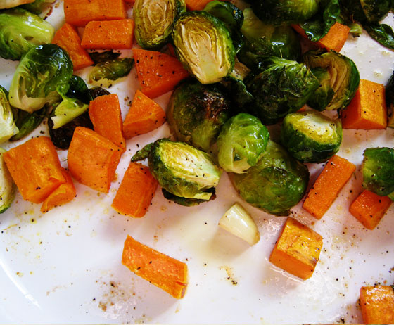 Jessica Kenenske: Roasted Brussels Sprouts and Sweet Potatoes