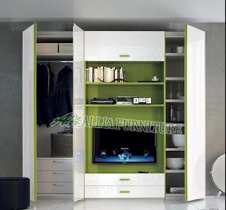 lemari pakaian minimalis modern dengan tv