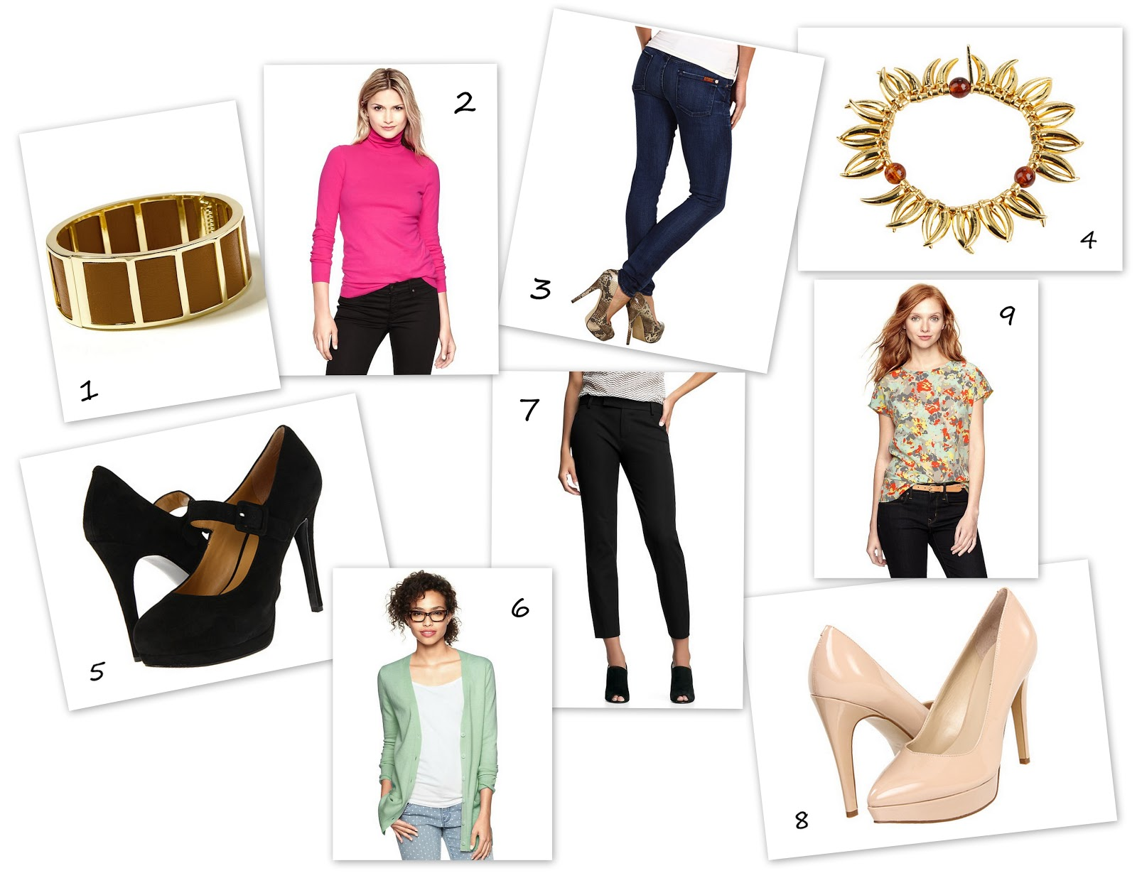 Banana Republic, Gap, 6pm.com, floral blouse, platform shoes, gold bangle bracelet, crop pants, skinny jeans