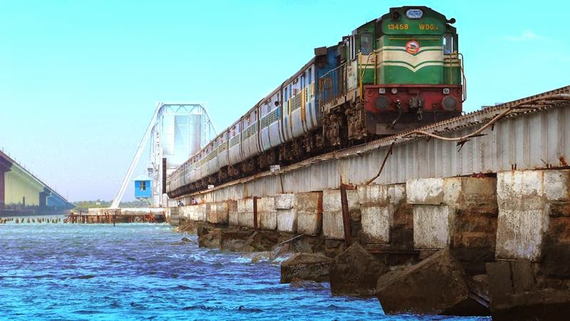 Pambam bridge train on sea boat mail.
