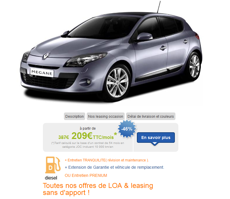 leasing loa et lld automobile renault megane dci partir de 209 euros par mois sans apport. Black Bedroom Furniture Sets. Home Design Ideas