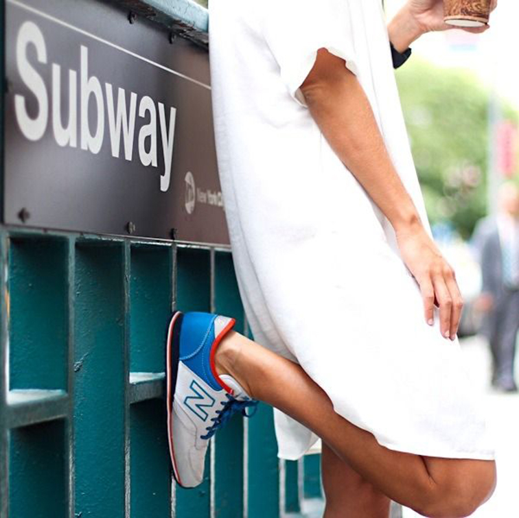NYC summer style, New Balance sneakers