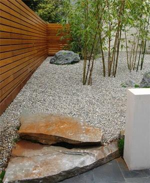 foto 9 jardin minimalista zen con piedras - bamboo