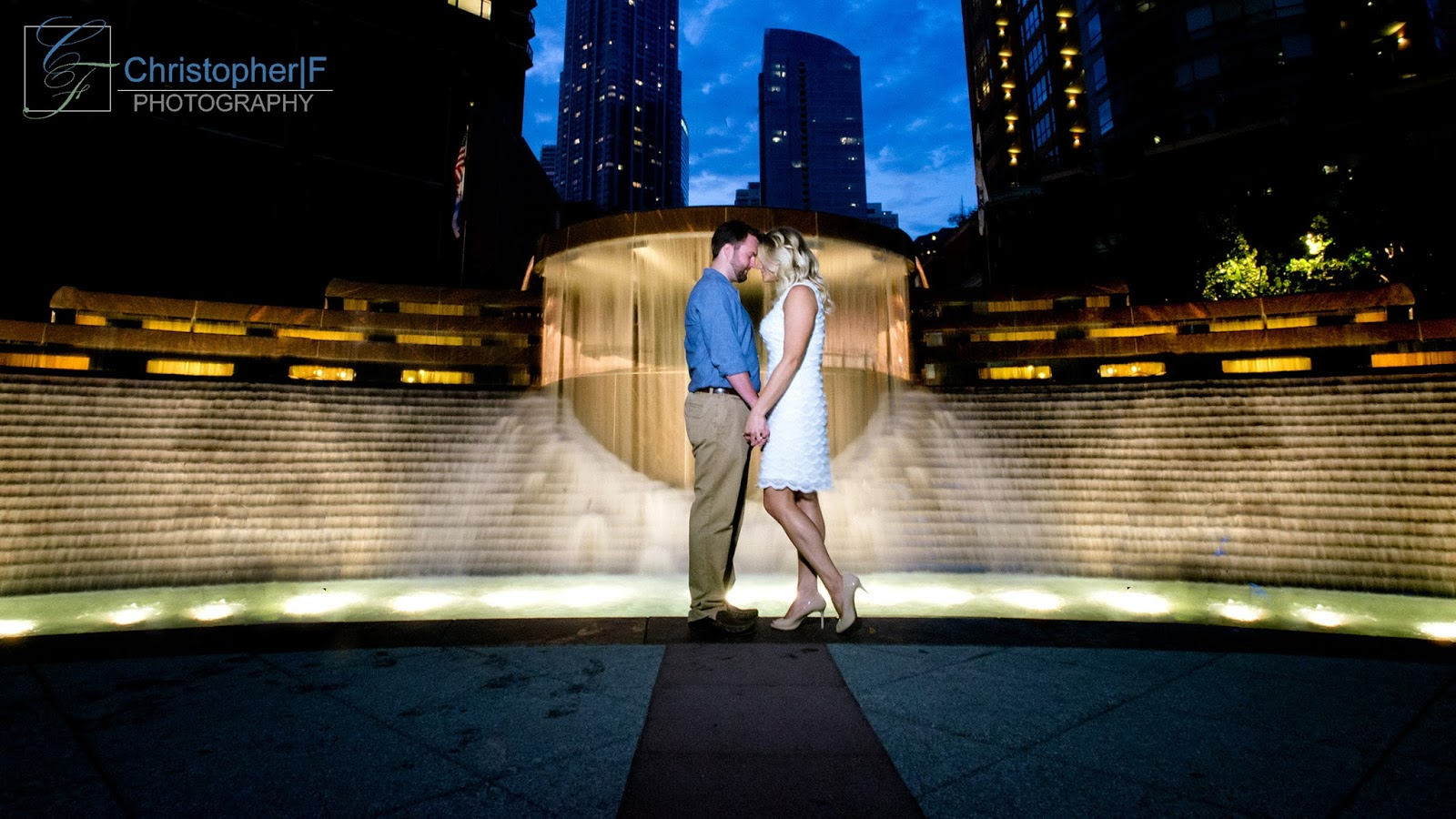 Chicago Night Fountain Engagement Photo
