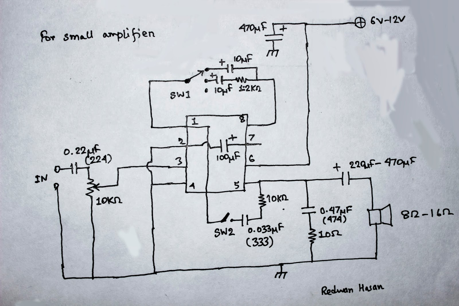 Scavengers Blog Fun With Lm386 Low Power Audio Amplifier Circuit Diagram Using As You Can See In The Figure That Is Fairly Simple Input 10kohm Variable Resistor Works A Volume Controller Pin 3 Non Inverting
