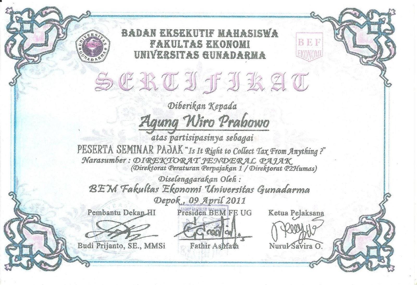 Awal Sertifikat Sertifikat Seminar Dan Kuliah Informal