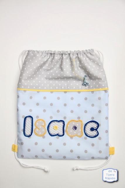 Bolsa mochila para guardería azul