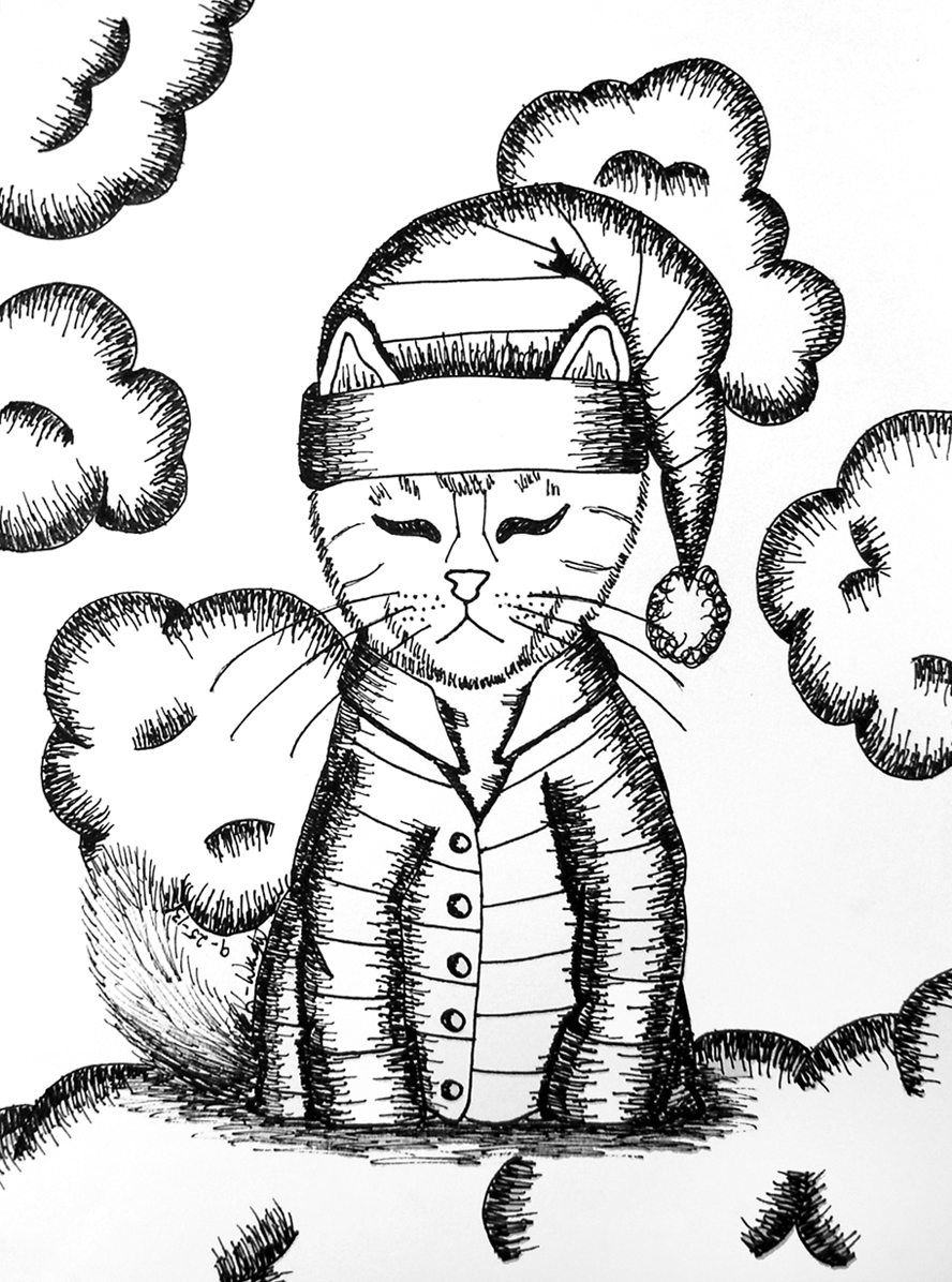 Black and White Ink Drawing of The Cat's Pajamas