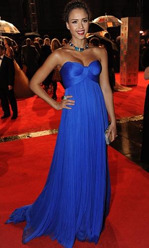 jessica alba 2011 blue dress. Jessica Alba brings some
