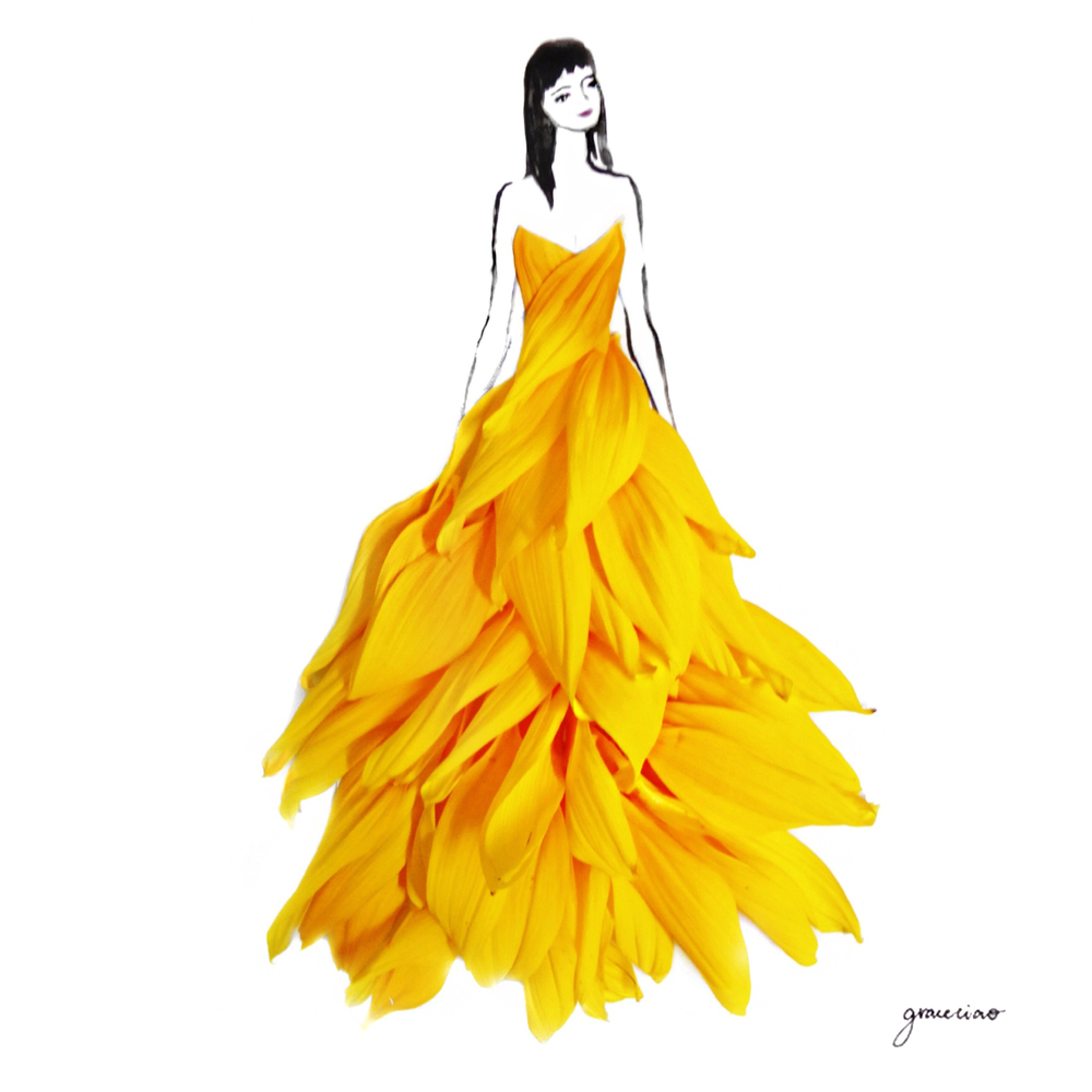 22-Sunflower-Dress-Nature-and-Grace-Ciao-Design-and-Draw-Dresses-with-Petals-www-designstack-co