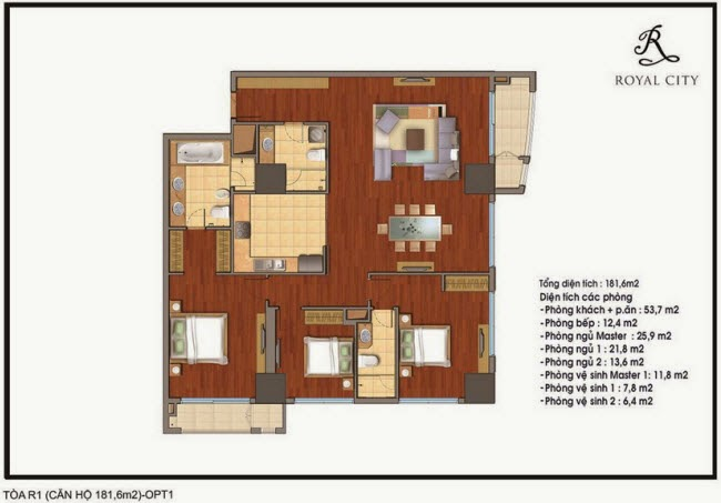 Mặt bằng căn hộ Royal City R1-181,6m2