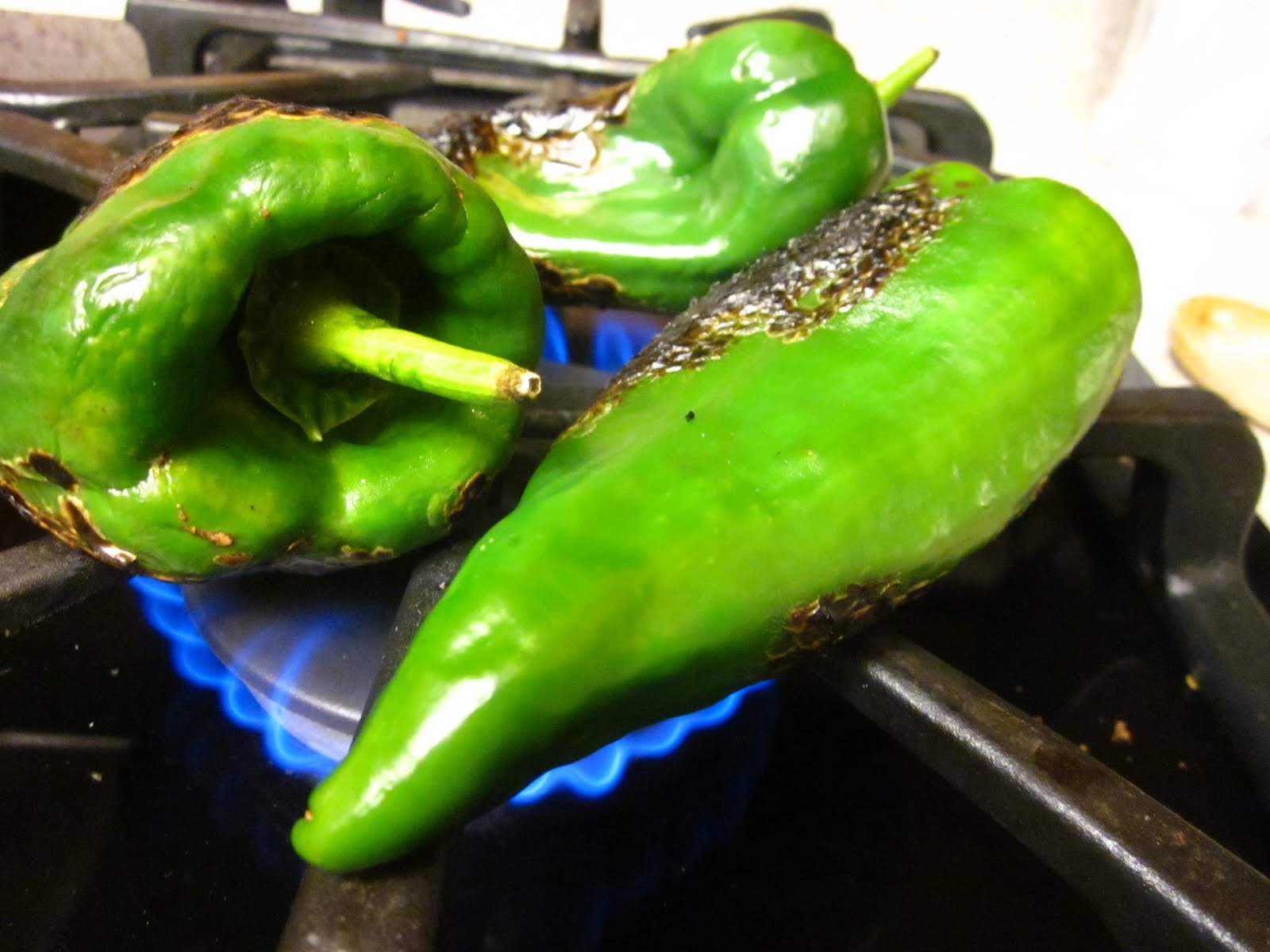 Baked Chile Rellenos with Corn and Crema adapted from Serious Eats