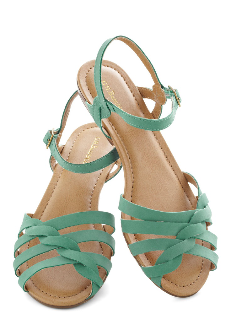Teal Blue Strappy Sandals