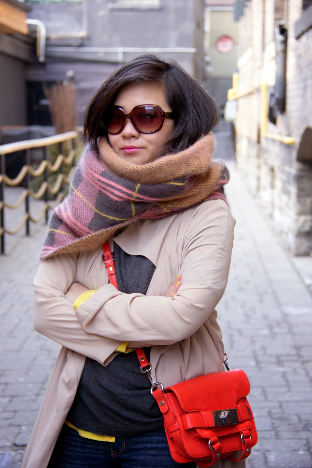 Spring-Outfit-Look, Chiffon-Trench-Coat, Orange-Mini-Toto-Bag, Street-Style, big-scarf