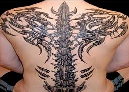 Amazing rib cage and back bone tattoo