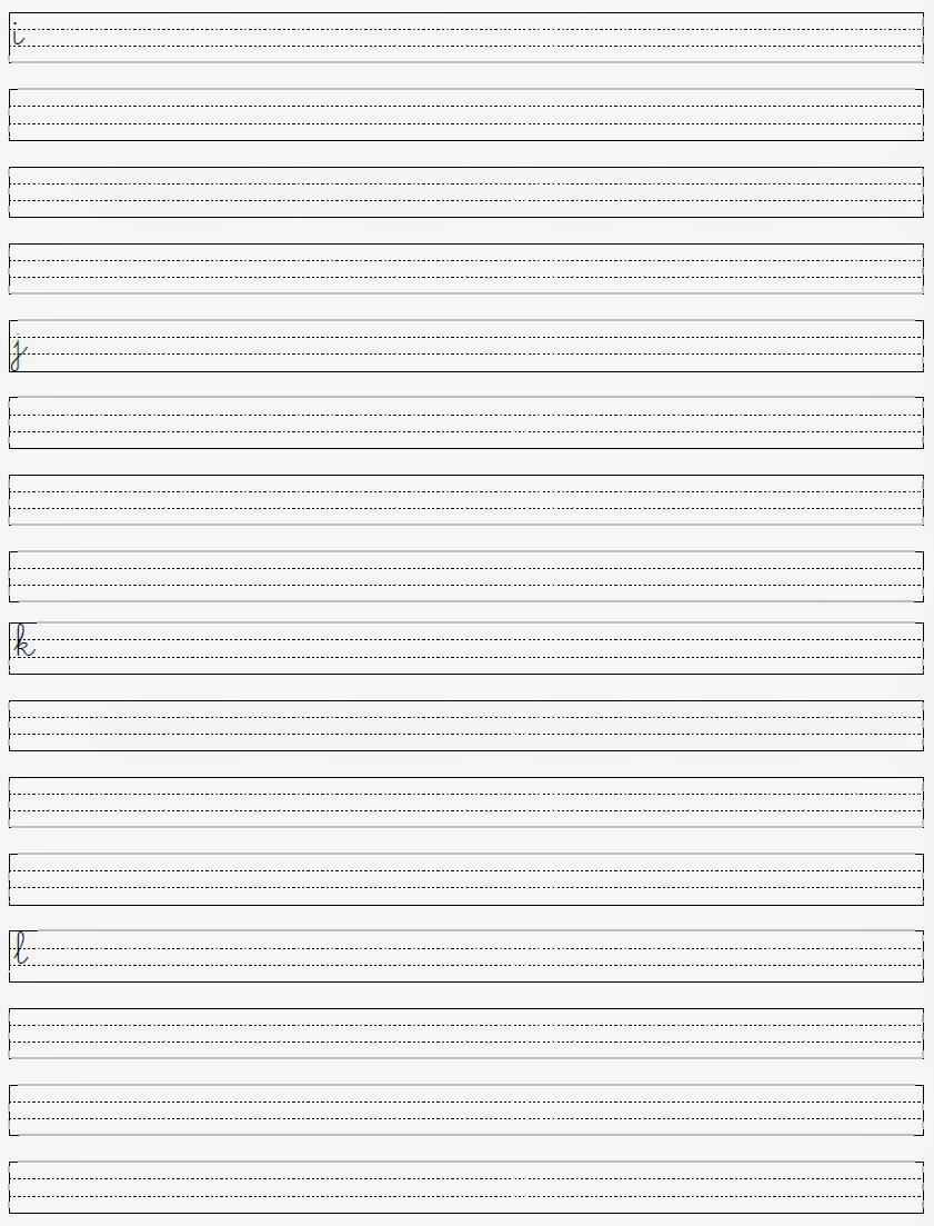 Alfabeto Minúsculo - Letras para Caligrafia ijkl