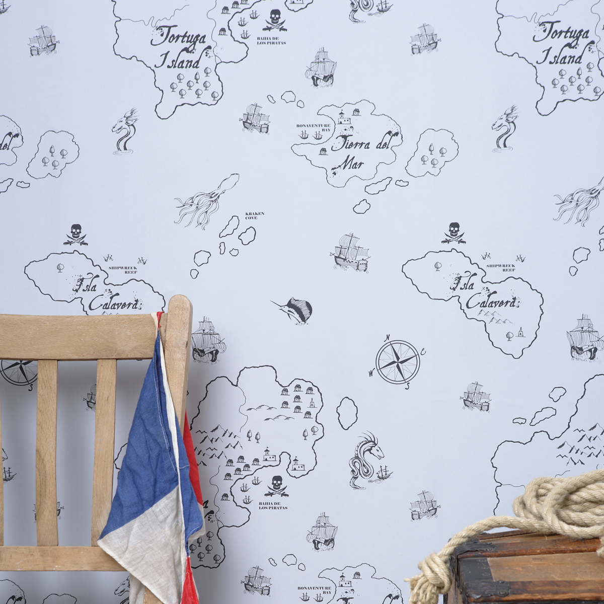 Hibou Home | Childrens Wallpaper | Pirate Seas | Gull Grey