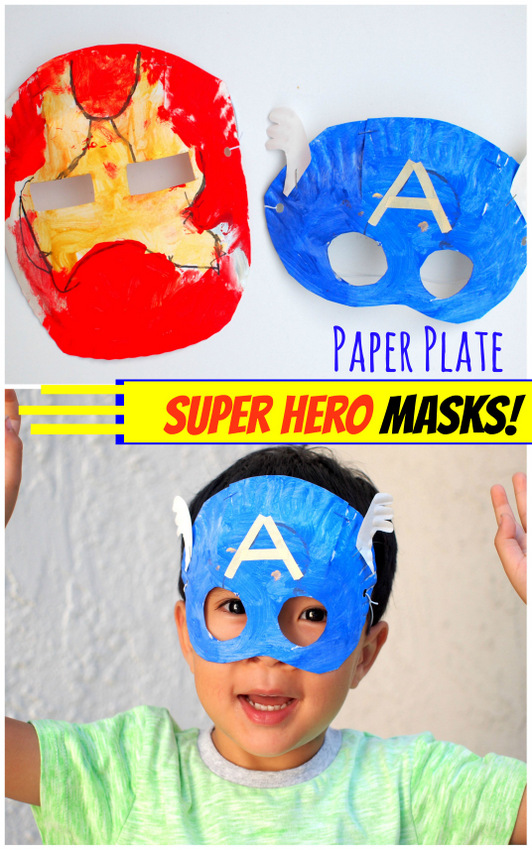 how to make avenger super hero paper plate masks- iron man and captain america  sc 1 st  Pink Stripey Socks & Avengers Paper Plate Masks | Pink Stripey Socks