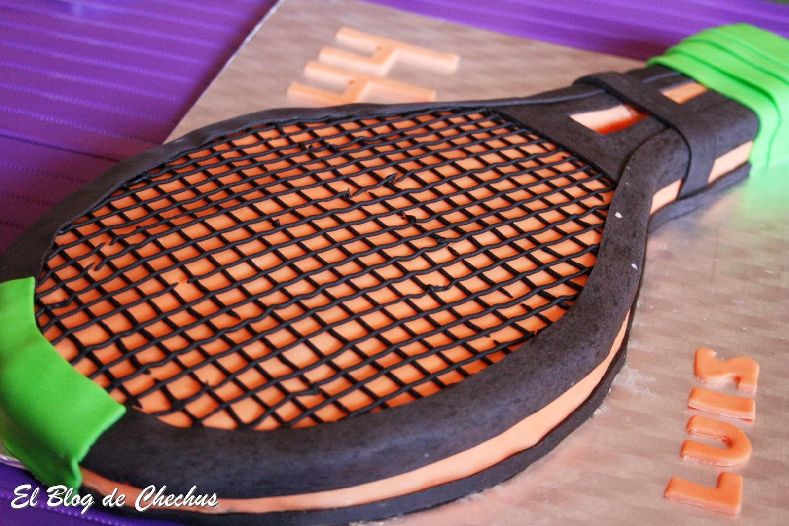 tartas decoradas, tarta raqueta de tenis, el blog de Chechus, Chechus Cupcakes