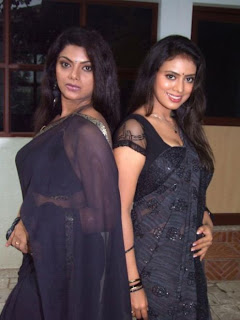 South Sizzlers Teja Shree and Swathi Verma Spotted in Black Transparent Saree Spicy Pictures