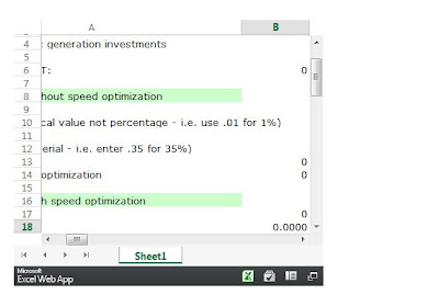Screenshot of the Page Speed ROI Calculator in Excel