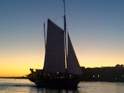 Sillhouette of Gaff Rig Sailboat