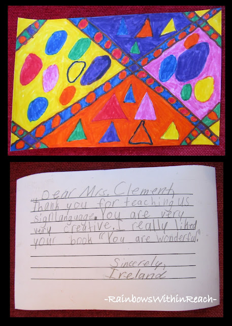 photo of: Graphic Drawings from Third Graders with Thank You Letter 