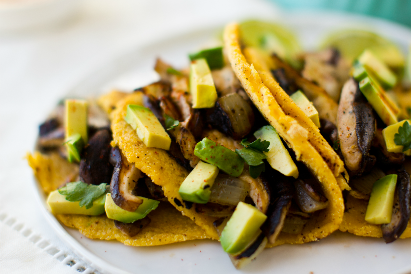 Mushroom Tacos with homemade tortillas from Healthy Happy Vegan Kitchen
