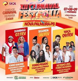 Divulgada a nova programação do XII Carnaval Fest Folia de Nova Palmeira