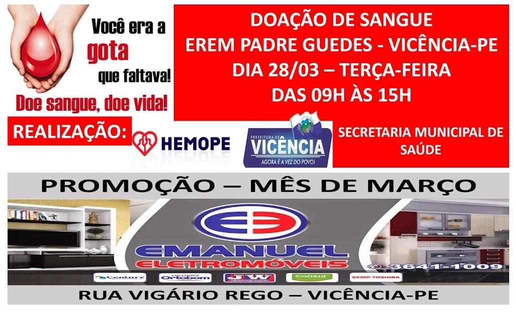 DOAÇÃO DE SANGUE/EMANUEL ELETROMÓVEIS