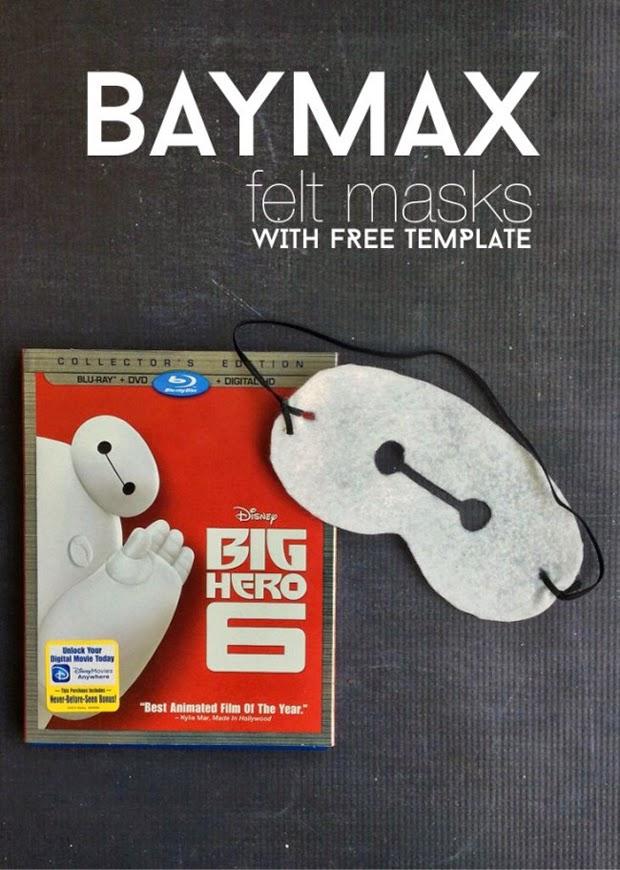 baymax felt mask DIY, big hero 6, craft idea, free template, craft DIY