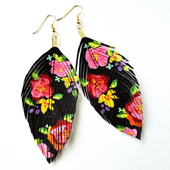 Handpainted Faux Feather Earrings by LoveSexton