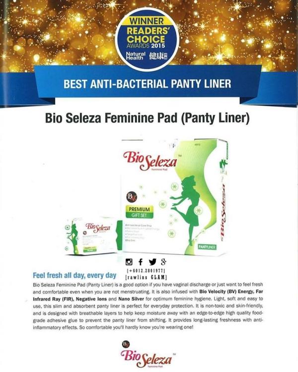 Bio Seleza anti-bacterial, Bio Seleza menang award, Bio Seleza kurangkan keputihan, Bio Seleza beri tenaga, Bio Seleza serap, byrawlins, award, Bio Seleza, Miss V, vagina