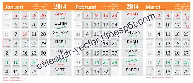 Template Kalender 2014 (MAS-2014-02) dilengkapi kalender Jawa, Pasaran