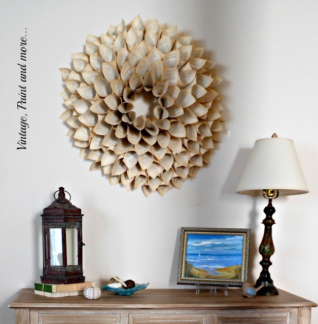 Vintage, Paint and more... coastal/beach decor for a vintage summer entry with a rustic lantern, seashells, and rustic lamp