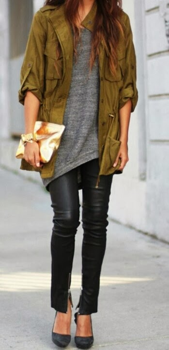 Black Leather Ankle Zip Pants, Olive Military Style Jacket And Grey Shirt