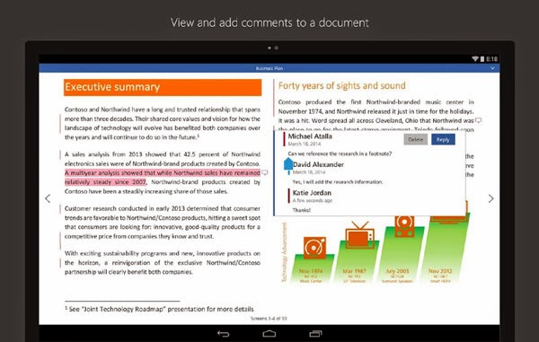 Microsoft Word for Android Tablet