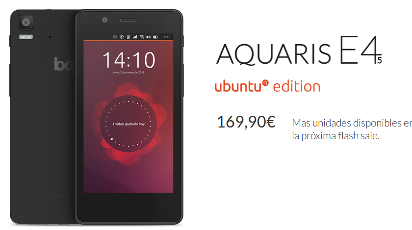 Compra ya el BQ Aquaris 4.5 Ubuntu Edition, Disponible BQ Aquaris 4.5 Ubuntu Edition