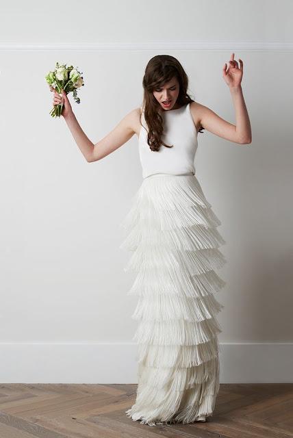 vestido novia flecos