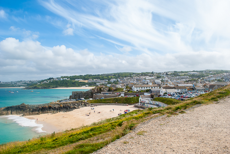 View of st Ives from The Island in west cornwall, england, UK