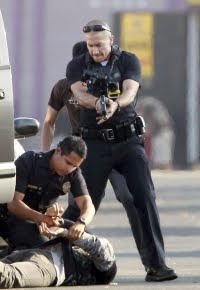 On the set of the movie End of Watch.