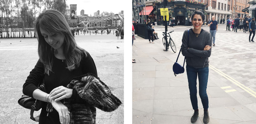 My sister // Me standing awkwardly in Soho!
