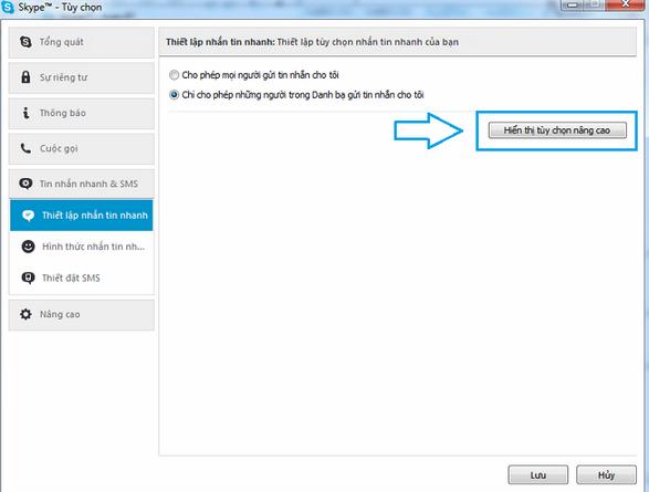 Cài đặt nâng cao lưu file trong Skype