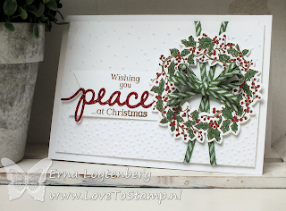 lovetostamp. stampinup, christmas greetings thinlits, wonderful wreath framelits, peaceful wreath