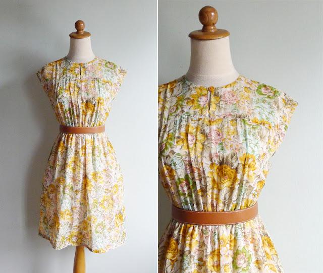 vintage sheer gauze floral dress